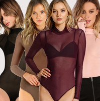 Wholesale Transparent One Piece Swimsuits - Perspective Mesh Bodysuit Women Rompers Transparent Turtleneck Sexy Jumpsuit One Piece Long Sleeve Hollow Out Swimsuits OOA4235