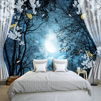 pájaros 3d de decoración de pared al por mayor-Custom Wall Mural Papel 3D Ventana Noche Bosque Luna Flor Bird Naturaleza Paisaje Foto Wallpaper Sala de estar Dormitorio Decoración de la pared