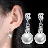 Wholesale Pearl Tassel Earrings - Silver plated ear studs _ silver plated earrings temperament pearl tassels fashion simple personality wild long paragraph