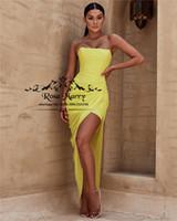 ingrosso vestito da cocktail chiffon giallo giallo-Sexy giallo breve economici abiti da cocktail 2018 fodero più il formato mini lunghezza chiffon increspature pieghe arabo ragazze africane abiti formali del partito