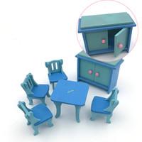 niños de la casa de madera al por mayor-Los niños Madera Pretender jugar y vestirse Bloques Juguetes Casa de muñecas de madera en miniatura Mesa de cocina Suite Bloque de construcción de personalidad Juguete 6td W