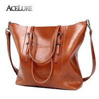 Wholesale coffee bucket - ACELURE Luxury Brand Women Shoulder Bags Big Bucket Bag Soft Leather Female Casual Tote Wild Messenger Bag Casual Ladies Handbag