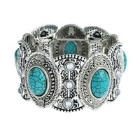 legierung silber türkis großhandel-Türkis Armbänder Frauen Ovale Türkis Charm Armbänder Silber Überzogene Legierung Armreifen Mode Perlen Schmuck Geschenk