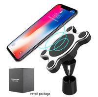 iphone tutucu havalandırma toptan satış-Kablosuz Şarj Araç Tutucu Manyetik Araç Tutucu Araba Hava Firar Dağı iPhone X Android Samsung Perakende Paketi ile