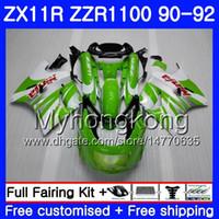 91 kawasaki ninja zx 11 großhandel-Körper Grünweiß Für KAWASAKI NINJA ZX-11R ZZR 1100 ZX11R 90 91 92 205HM.11 ZZR1100 ZX11 R ZZR-1100 ZX-11 R ZX 11R 1990 1991 Verkleidungen