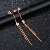 stern ohrring kette großhandel-Mini fünfzackigen Stern mit Strass Ohrringe Lange Fransen Kette weiblichen Temperament Titan Stahl Damen Ohrringe