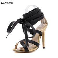 diz boyu yüksek dantel sandaletleri toptan satış-Yeni yaz ayakkabı kadın diz yüksek topuklu sandalet seksi gladyatör lace up sandalet Genova Stiletto sandalet kadın Altın pompaları çizmeler
