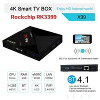 Wholesale c media player - 2018 New RK3399 with Dual-Core X99 Amlogic S912 Voice Remote Contro Type-C 3.0 Android 7.1 TV BOX 4K BT4.1 Smart Media Player