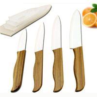 küchenmesser marke großhandel-Marke oben Bambusgriff mit weißem Blatt-keramisches Messer Küchenhelfer 3