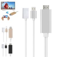 Wholesale usb av cable online - Plug and Play pin USB to HDMI Adapter HDTV Audio AV Cable for iPad iPod iPhone S S S Plus CPA_21P