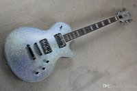 venda de basswood venda por atacado-LP guitarra elétrica grande partícula brilho corpo prateado