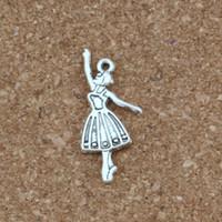 ingrosso ciondoli da ballerino-Ballerino di balletto ragazza lega pendenti di fascini 100 pz / lotto argento antico gioielli di moda fai da te fit bracciali collana orecchini 13.5x32mm a-342