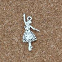 bailarinos de balé venda por atacado-Dançarina de balé menina Liga Encantos Pingentes 100 Pçs / lote Antique prata Moda Jóias DIY Fit Pulseiras Colar Brincos 13.5x32mm A-342