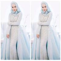 mavi müslüman gelinlik toptan satış-2018 Zarif Müslüman Sky Blue Mermaid Gelinlik Özel Boncuklu Kristal İnciler Boncuklu Romantik Örgün Düğün Örgün Gelinlikler