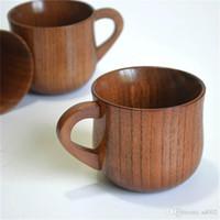 ingrosso giappone fatto a mano-Retro Giappone in legno fatti a mano artefatto caffè latte tazza di tè selvaggio giuggiola maniglia tazze d'acqua creative Eco Friendly 9ln bb