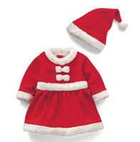 jungen santa hosen großhandel-Neue Mode Weihnachten Kinderbekleidung Santa Kostüme Jungen Shirt + Gürtel Hosen + Hut Mädchen Rock Hut Cosplay Set