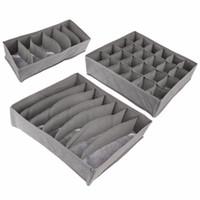 caixas de armazenamento dobráveis em tecido venda por atacado-Novo 3 Pçs / set Bambu carvão Não-tecido Tecido Dobrável caixa De Armazenamento cueca Organizador Bra Gravata Calcinha Meias Caso Gaveta