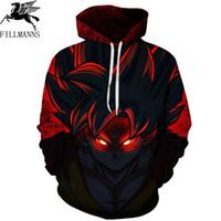 ingrosso cappuccio dragonball-FILLMANNS Z Hoodies Men 3D Printed Pullovers Sportswear Dragonball Goku Black Zamasu Felpe