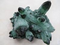 Wholesale Antique K - DingSheng 150-200g natural green ghost quartz crystal cluster phantom specimen Quartz graden inclusion healing Drusy point Stones Minerals