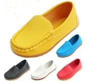 ingrosso barche di gomma di alta qualità-Taglia 21-30 Gomma di alta qualità Morbida suola Casual Flats Scarpe da barca Vendita calda Scarpe per bambini Sneakers in pelle PU per bambini BoysGirls