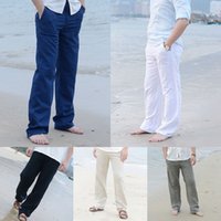 ingrosso pantaloni lunghi lungo la spiaggia-Pantaloni larghi in lino da uomo in cotone con coulisse Pantaloni lunghi casual pantaloni lunghi da spiaggia in vita elastica