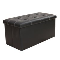 Wholesale blue leather seats - Large Folding Storage Faux Leather Pouffe Seat Stool Box size76cm