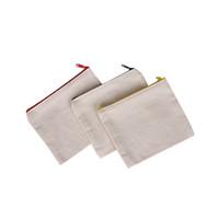ingrosso sacchetto dell'organizzatore della cassa della penna-Cerniera in tela bianca Astucci per penne Astucci in cotone per cosmetici Borse per il trucco Custodia per cellulare con pochette organizer