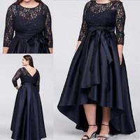 siyah sırf anne gelin elbiseleri toptan satış-2018 Siyah Artı Boyutu Yüksek Düşük Yarım Gelin Ile Gelin Elbiseler anne Sheer Dantel Abiye giyim A-Line Ucuz Anne Elbise