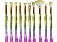 Wholesale change hair - High quality 10pcs lark  makeup brush gradually changing color handle makeup tools free shipping