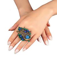 ingrosso blue stone decorations-New Vintage Wedding Gift anello grande per donna blu femmina grande pavone decorazione pietra Charms gioielli dichiarazione anelli femminili
