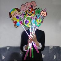 Wholesale led flash windmill - LED Windmill Plastic Toys with Handle Pinwheel Night Lights Lighting Flashing Light Up Cartoon Animal Windmill Gifts CCA9481 50pcs