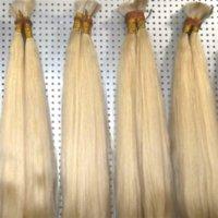 trenzas brasileñas rubia al por mayor-Buena oferta Color 613 Extensión del cabello humano rubio a granel Onda recta barata Cabello brasileño a granel para trenzas Sin accesorio, envío gratis