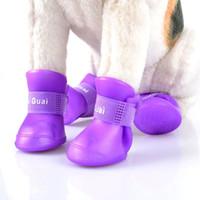 pet set chaussures fashion achat en gros de-4pcs / set été chaussures de chien pour animaux de compagnie imperméable chaussures de pluie pour chien chiot bottes en caoutchouc portable doux chaussures pour animaux de compagnie nouvelle mode