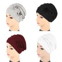 Wholesale elastic beanie hat resale online - Double Flower Beanies India Hat Elastic Headwears Force Color Weaving Spring Popular Women Keep Warm jc aB