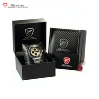 акулы спортивные часы цифровые оптовых- Leather Box SHARK Sport Watch Mens Watches Top  Dual Time Day Steel Band Relogio LCD Quartz Digital Montre/SH109-112