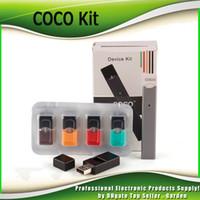 cartuchos de fumar vaporizador al por mayor-COCO QUE FUMA 220mAh Batería Ultra portátil Vape Pen Starter Kit Para Vapor Pod Cartucho Kits de vaporizador