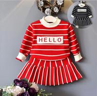 bebek kız örme kazaklar toptan satış-Sonbahar Kış Kız Kazak Uzun Kollu Prenses Elbise Bebek Kız Triko Giyim Çocuklar Örme Jumper Kazak Ceket