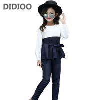 roupa grande do tamanho dos miúdos venda por atacado-Crianças Stripe Outfits para Meninas Adolescentes Roupas de Manga Longa Conjuntos Meninas Camisas Da Escola Calças Ternos Big Size Crianças Conjuntos de Roupas