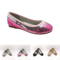 zapatos rosados de la boda del satén al por mayor-Zapatos de vestir de bailarina con lentejuelas para niñas, niños pequeños, plateado, rosa, negro, satinado, textil, banquete de boda zapatos