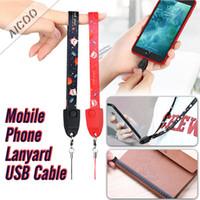 sangles c achat en gros de-Téléphone portable lanière dragonne à la main USB Micro détachable Type C câble avec fonction de mesure de bande pour ix i7 i8 avec Retailbox