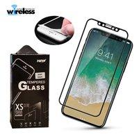 color de la cubierta de la pantalla del iphone al por mayor-Para iPhone Xs Max Xr Vidrio templado 3D Protector de pantalla de borde completo en color Soft Edge para iPhone 8 7 Plus con paquete