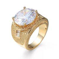 ingrosso grande cluster-MGFam (243R) Big White Zircon Rings Jewelry Per le donne Fashion 18k placcato in oro zircone cubico