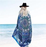 Wholesale Black Hippy - 2018 Summer Beach Towel 150cm Mandala Square Yoga Mat Throw Tapestry Hippy Boho Chiffon Tablecloth Bikini Shawl Baby Blanket