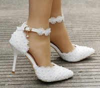 Wholesale White Lace Flower Wedding Shoes Strap Bride s Shoes and Pointy Head for Bridal Shoes