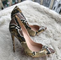 Wholesale Python Heels - Fashion women Blue python snakes point toe wedding shoes red bottom high heels thin heeled shoes pumps genuine leather size 34-44