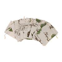 bolsos de lino del favor del cordón al por mayor-10pcs Vintage Cotton Linen Sack Jewelry Pouch Drawstring Bag Favor de la boda