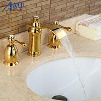Wholesale sink bathtub faucet - 3Pcs Faucet Golden Polished Basin Faucets Deck Mounted Bathroom Tap Sink or Bathtub Faucet 2 handles BA05