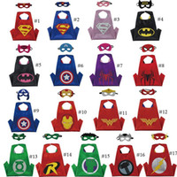 Wholesale Male Cape - hot Double side L70*70cm kids Superhero Capes and masks - Spiderman Flash Supergirl Batgirl Robin for kids capes with mask