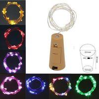 ingrosso illuminazione delle bottiglie di vetro-2M 20 LED Tappo fermaporta a LED Filo argentato Fata in vetro chiaro Tappo a forma di vino Decorazione natalizia