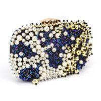 perlen blaue tasche großhandel-Mode Luxus Blau Perlen Abendtasche Perle Clutch Hochzeit Braut Party Bag Weibliche pochette Geldbörse bankett soiree Tasche Z95